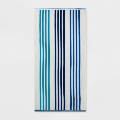 Vertical Beach Towel XL Blue Stripe - Sun Squad™
