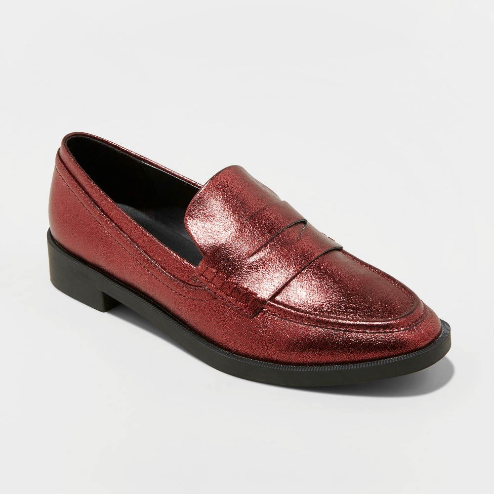 Women's Bernadette Patent Penny Loafers - A New Day Red 12