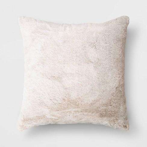 Faux Rabbit Fur Throw Pillow - Threshold™ - image 1 of 4