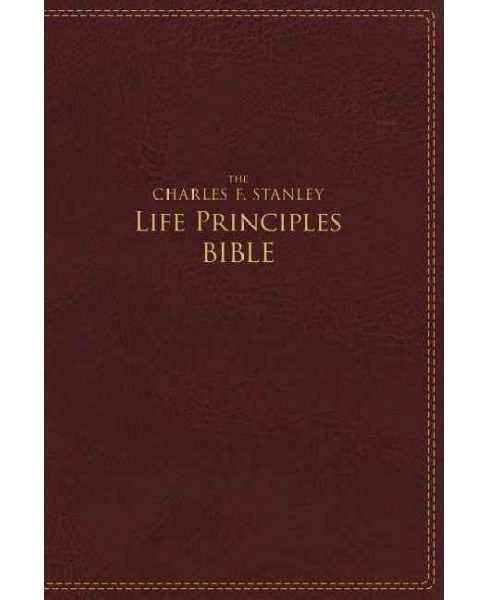 Charles F. Stanley Life Principles Bible : New International Version, Burgundy, Imitation Leather, Red - image 1 of 1