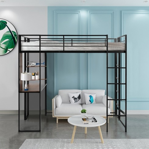 Costway Twin Size Metal Loft Bunk Bed Space Saving Workstation Loft Bed W Bookcase Target