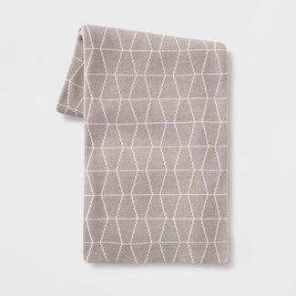 Reversible Knit Geo Throw Blanket Tan/White - Project 62™