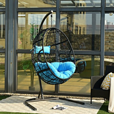 Hammock Chair with Stand Hanging Cushioned Swing Egg Chair for Indoor Blue\Red