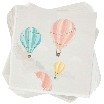 Sparkle and Bash Baby Shower Disposable Paper Napkins, Hot Air Balloon, 100 Pack, 6.5 in