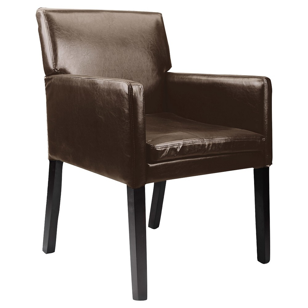 Antonio Accent Chair Dark Brown Bonded Leather - Corliving