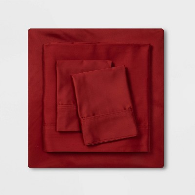 400 Thread Count Solid Holiday Performance Sheet Set Red - Threshold™