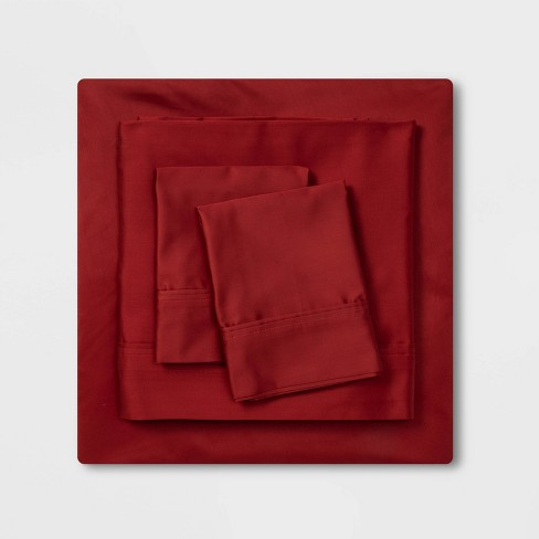 400 Thread Count Solid Holiday Performance Sheet Set Red - Threshold™ - image 1 of 4