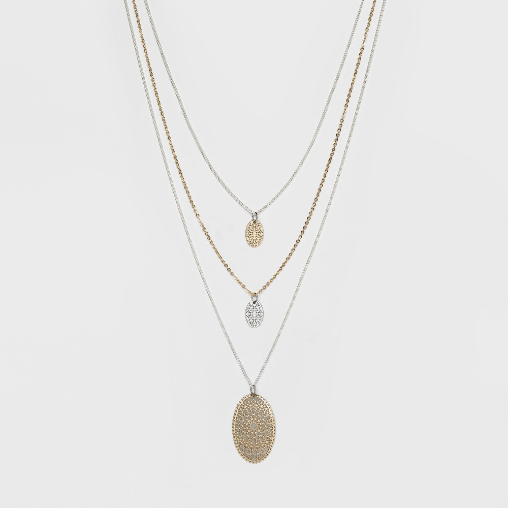Three Filigree Discs Short Necklace - A New Day Silver/Gold