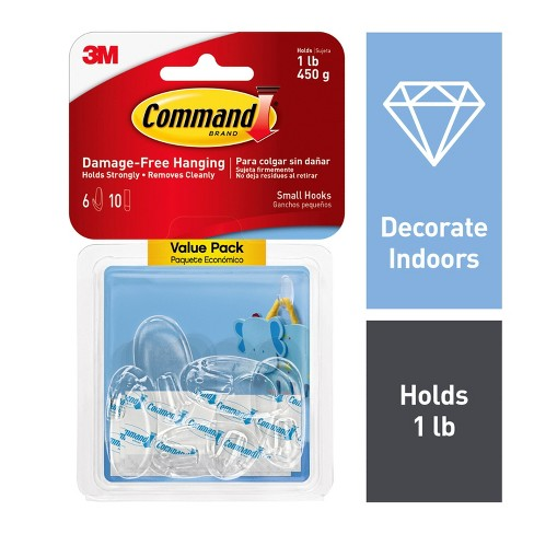 Command Small Sized Clear Hooks Value Pack (6 Hooks 10 Strips)