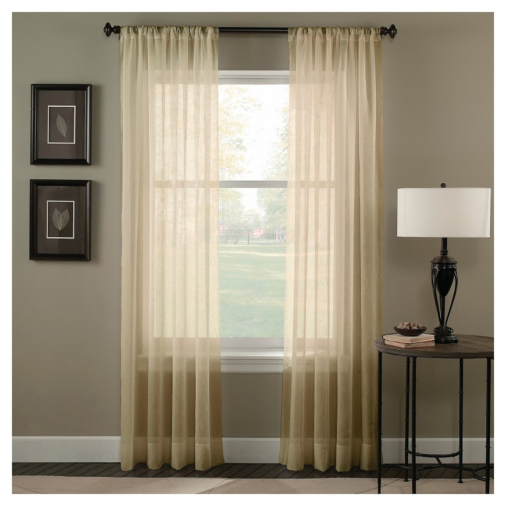 Curtainworks Trinity Crinkle Voile Curtain Panel - Sage (Green) (132)