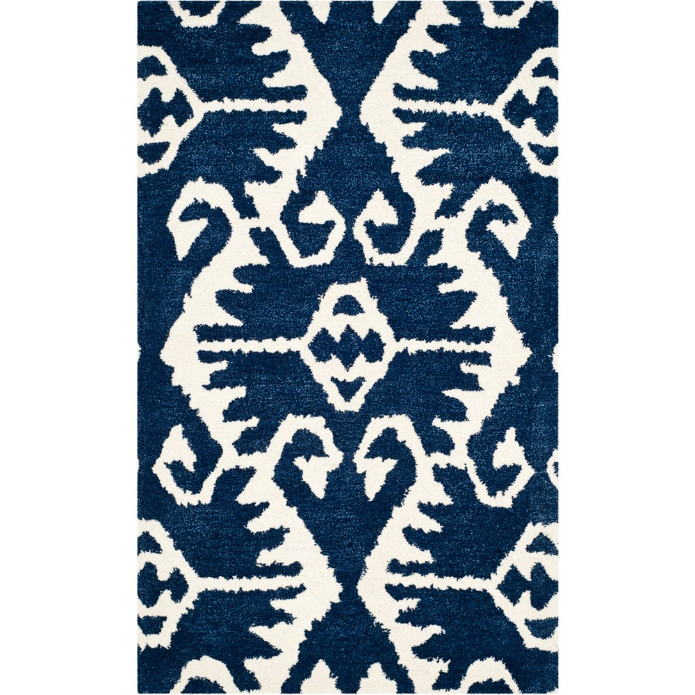 3X5 Geometric Design Tufted Accent Rug Royal Blue/Ivory - Safavieh Best