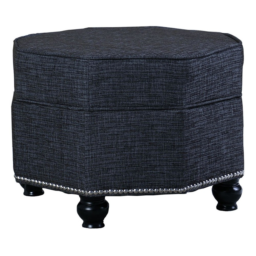 Tufted Storage Ottoman With Legs - Blue - Ore International