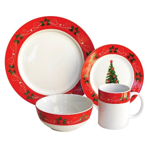 16pc Stoneware Classic Christmas Dinnerware Set Red White American