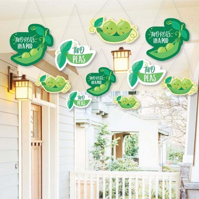 Big Dot of Happiness Hanging Double the Fun - Twins Two Peas in a Pod - Outdoor Hanging Decor - Baby Shower or 1st Birthday Party Decor - 10 Pieces
