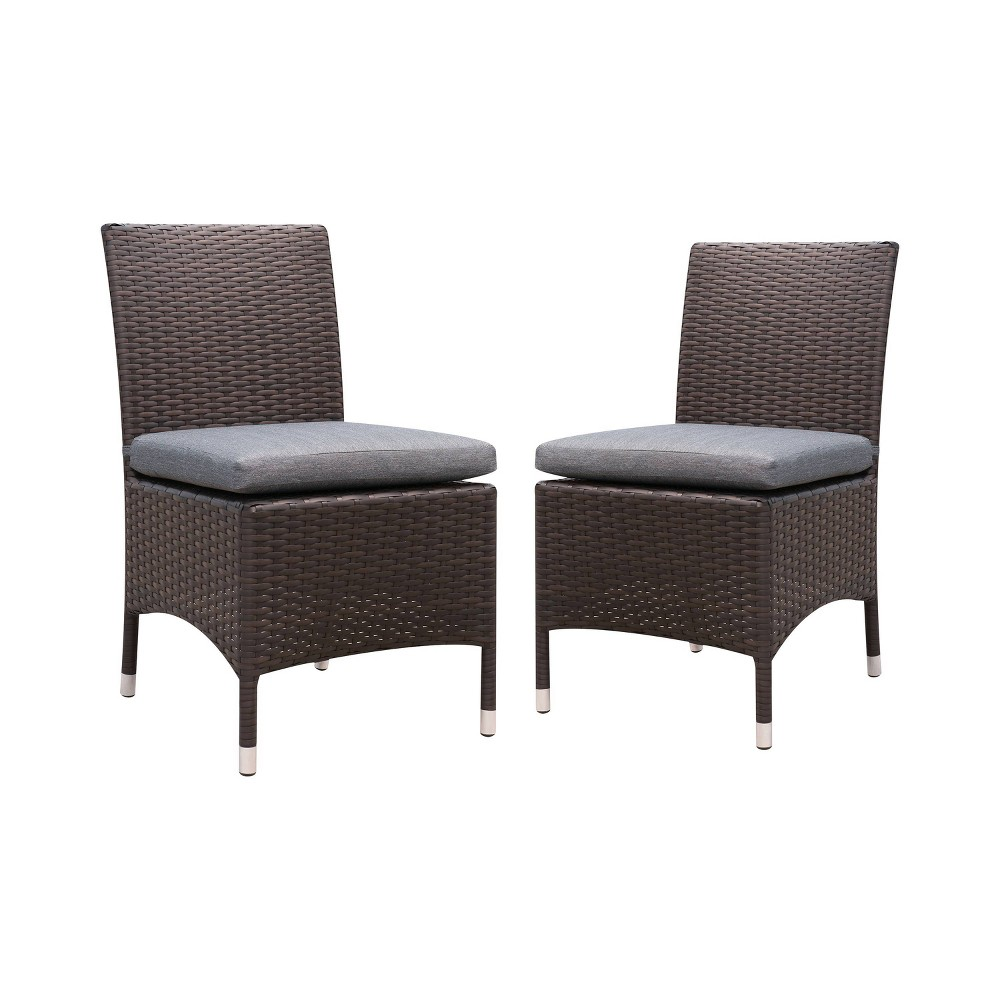 Image of 2pc Chadwick All Weather Wicker Patio Side Chairs Brown/Gray - miBasics