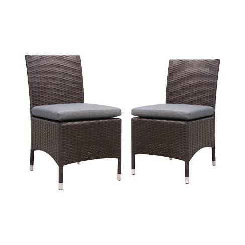 2pc Chadwick All Weather Wicker Patio Side Chairs Brown Gray Mibasics
