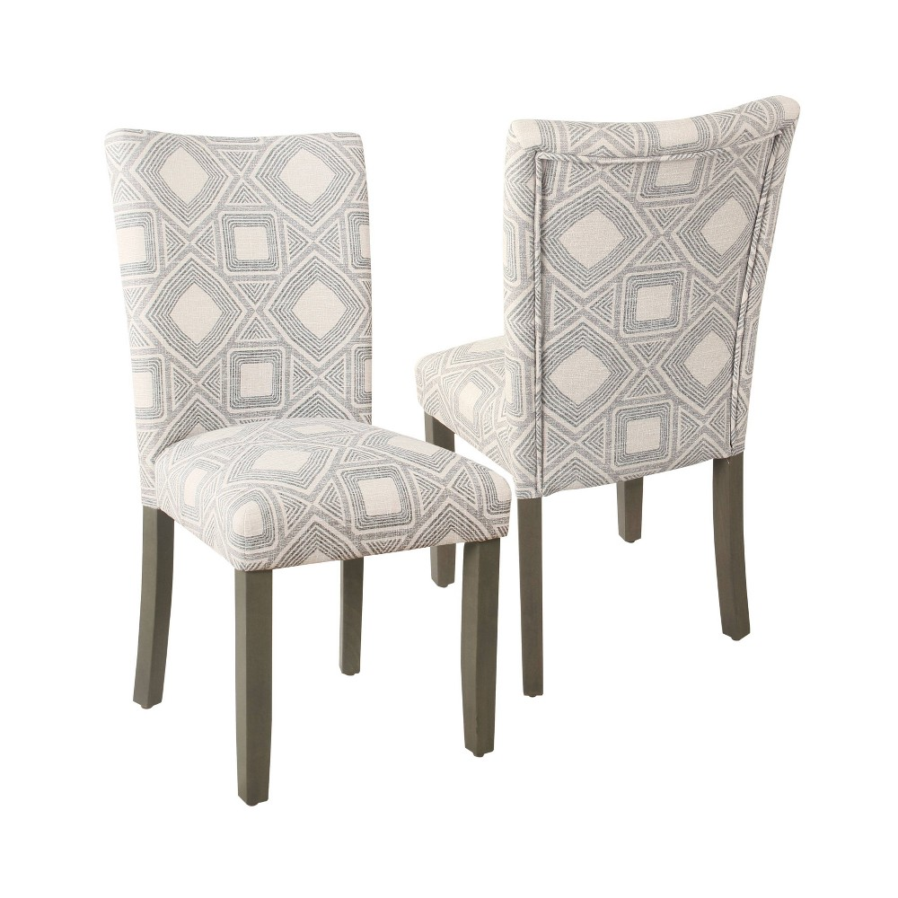 Set Of 2 Parson Dining Chair Charcoal Square Geometric Homepop