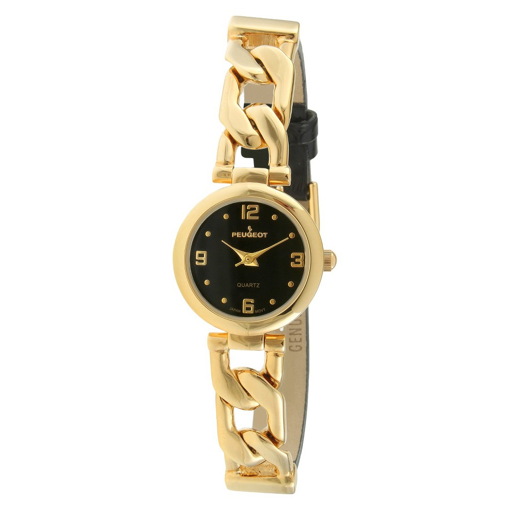 Women's Peugeot Half Leather Gold-tone Link Black Dial Wa...