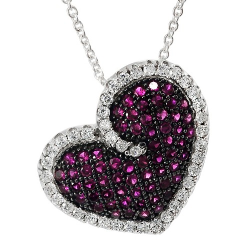 5 3/4 CT. T.W. Round-cut CZ Heart Pave Set Necklace in Sterling Silver - Purple - image 1 of 2