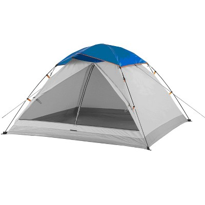 Suisse Sport SS070748GB 3 Person 7 Foot Lightweight Outdoor Indoor Camping Beach Pop Up Dome Tent with Rain Fly and Bag, Gray/Blue