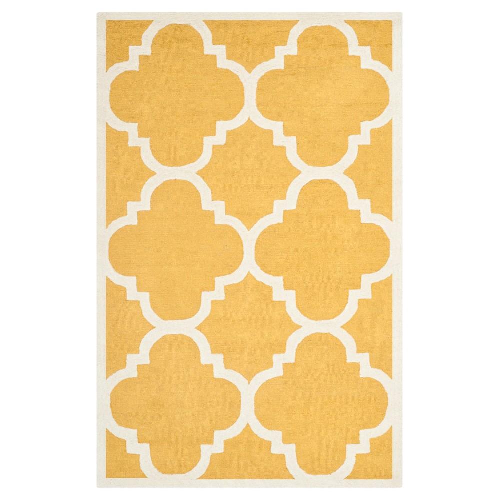 Landon Texture Wool Rug - Gold / Ivory (5' X 8') - Safavieh, Gold/Ivory