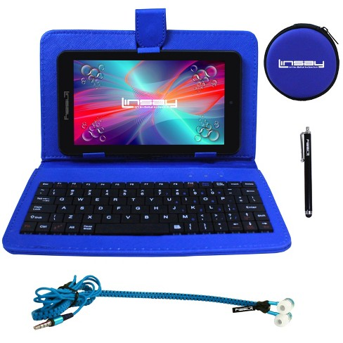 "LINSAY® 7"" Super Bundle1024x600 HD Quad Core Dual Camera Android Tablet with Blue Keyboard Earphones and Pen Stylus - image 1 of 3"
