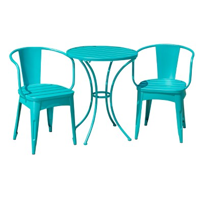 Colmar 3pc Cast Iron Patio Bistro Set - Matte Teal - Christopher Knight Home