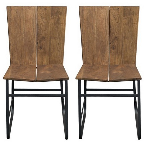 Set Of 2 Sequoia Split Back Iron Base Dining Chair Light Brown - Treasure Trove - image 1 of 4