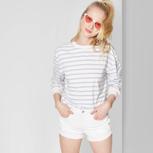 Women's High-Rise Cutoff Jean Shorts - Wild Fable™ White 8 - image 1 of 3