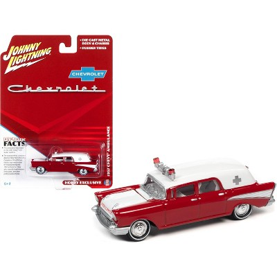 1957 Chevrolet Ambulance Kosmos Red and White with White Interior 1/64 Diecast Model Car by Johnny Lightning