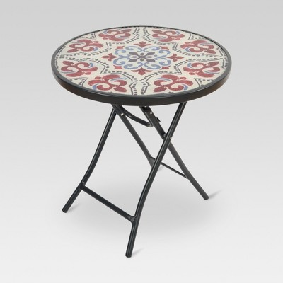Glass Folding Round Patio Accent Table - Medallion - Threshold™