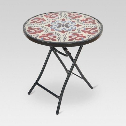 Round Gl Folding Patio Accent Table Threshold