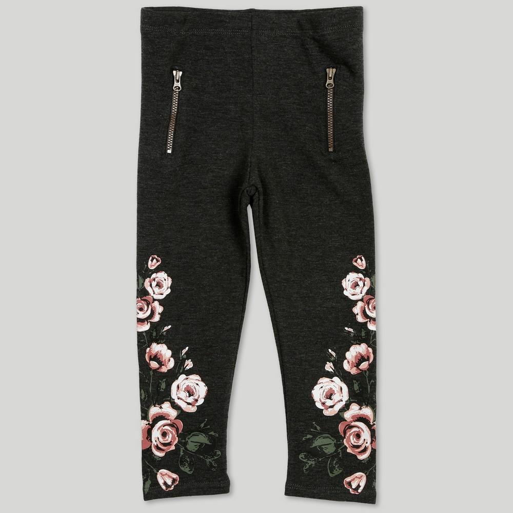 Afton Street Toddler Girls' Floral Print Pants - Gray 4T