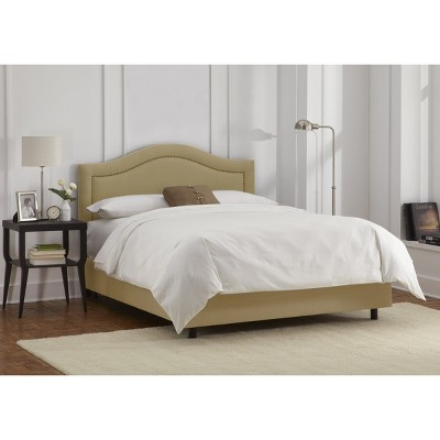 Skyline Furniture Merion Inset Nailbutton Bed - Sandstone (Full) - Skyline Furniture , Brown