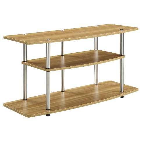 3 Tier Wide TV Stand - Light Oak - Convenience Concepts - image 1 of 3