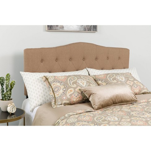 King Cambridge Arched Button Tufted Upholstered Headboard Camel Brown Riverstone Furniture Target