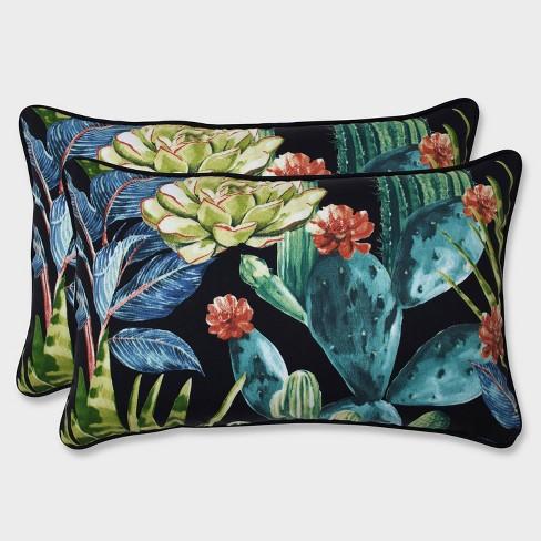 2pk Hatteras Black Rectangular Throw Pillows Black - Pillow Perfect - image 1 of 1