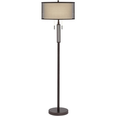 Franklin Iron Works Modern Industrial Floor Lamp Bronze Metal Screen and Off White Linen Double Drum Shades for Living Room Office