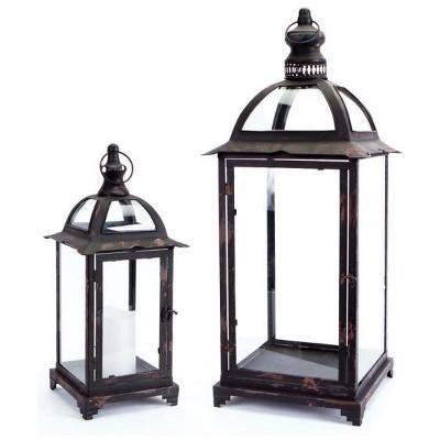 "Melrose Set of 2 Pagoda Crest Weathered Iron and Glass Pillar Candle Holder Lanterns - 26"""