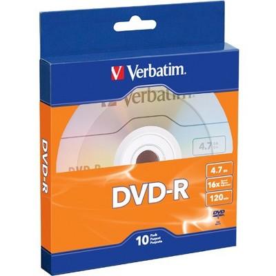 Verbatim DVD-R 4.7GB 16X with Branded Surface - 10pk Bulk Box - 120mm - 2 Hour Maximum Recording Time