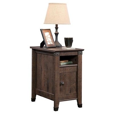 Carson Forge Side Table with Door and Adjustable Shelf - Coffee Oak - Sauder