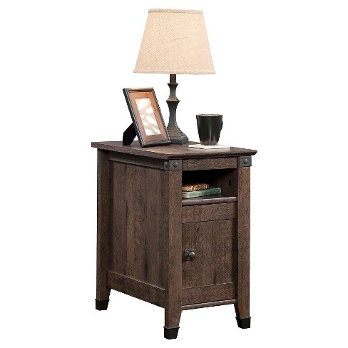 Carson Forge Side Table With Door And Adjustable Shelf Coffee Oak