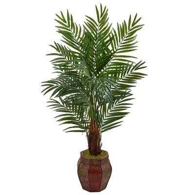 5ft Artificial Areca Palm Tree in Weave Planter Green - Nearly Natural