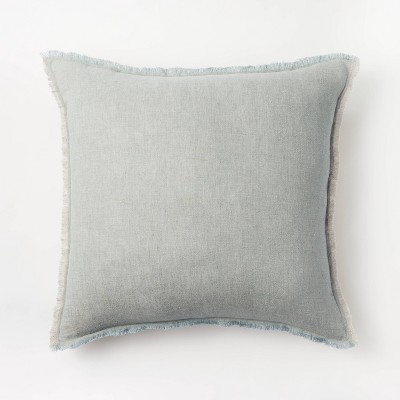 Oversized Square Linen Throw Pillow with Contrast Frayed Edges Green/Cream - Threshold™ designed with Studio McGee
