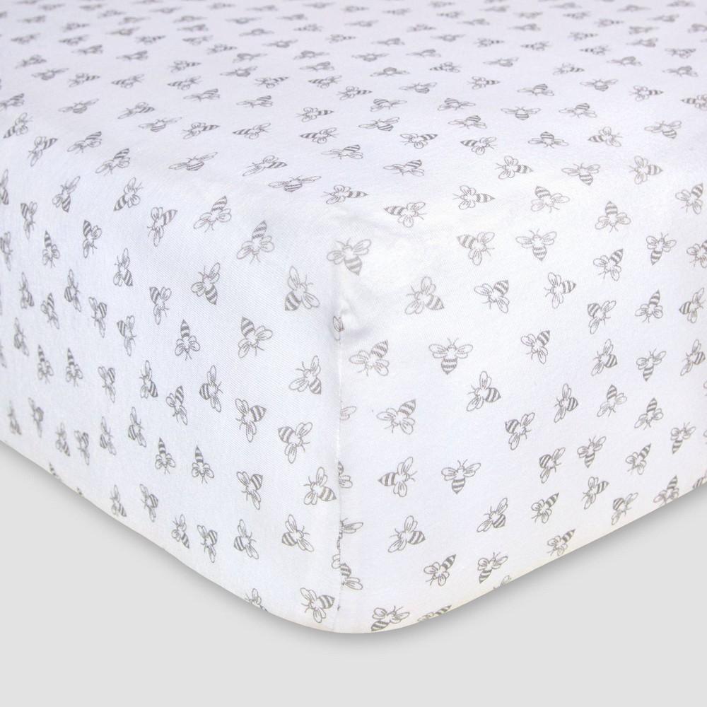 Burts Bees Baby Organic Fitted Crib Sheet - Honeybee - Gray Promos