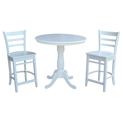 36 3pc Round Extension Dining Table With 2 Emily Counterheight Stools Set White International Concepts Target