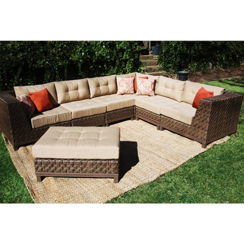Dawson 7pc All Weather Wicker Patio Sectional Seating Set Tan Ae Outdoor Target