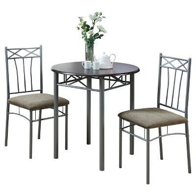 Dining Table Set - Cappuccino/Silver (Set of 3)- EveryRoom