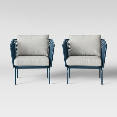 Fisher 2pk Patio Club Chair Blue - Project 62™