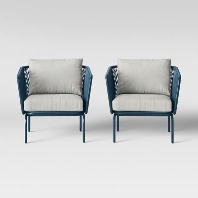 Marvelous Fisher 2Pk Patio Club Chair Blue Project 62 Brickseek Cjindustries Chair Design For Home Cjindustriesco